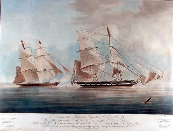 painting of The HMS Blakeys Joke. A Slave Ship.