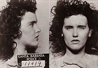Mug shot of Black Dahlia, Elizabeth Short, after her arrest for underage drinking.