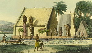 A depiction of a royal heiau (Hawaiian temple) at Kealakekua Bay, c. 1816